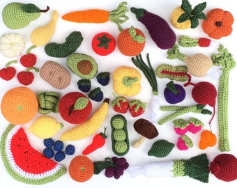 Crochet Fruit and Vegetable Play Toy Set | Crochet Fake Food Kitchen, Farmers Market, or Grocery Store Toys