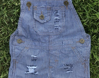 RTS Striped Distressed Denim Overalls Lightweight for Baby Boys