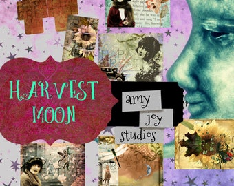 Harvest Moon Journal  Printable Junk Journal  Vintage Journal  DIY  Mini Album  Celestial Journal  Digital journal kit  printable envelope