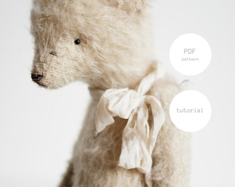 PDF Sewing Pattern & Tutorial Teddy Bear 7 Inches Stuffed Animal Mohair Artist Teddy Bear Pattern Soft Toys PDF Sewing Pattern For Women