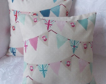 """Handmade Fryetts Bunting Union Jack cushion pillow cover. Pink or Blue. 14"""", 16"""", 18"""" 20"""", 22"""",24"""""""