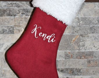 Personalized Cranberry Red,  Burgundy suede with white fur cuff Christmas stocking