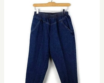 ON SALE Vintage Blue Denim High waist tapered easy Pants from 90's*