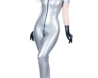 R1854 STORM Mistress Rubber Latex Catsuit with Zip Front to back Made+Designed In UK