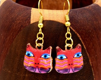 Earrings Golden red tabby cat, gold and Red Cat Head clips