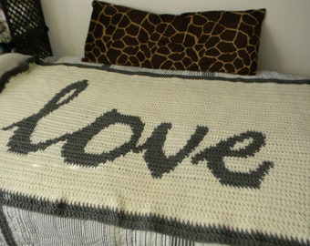 sale - Large Crochet LOVE Blanket 76 x45 - Valentines Day and Weddings - Ready to ship