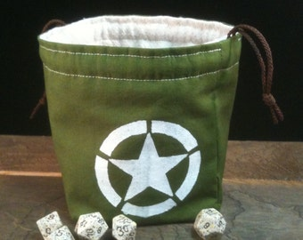 US Army Star Dice Bag, Olive Cotton