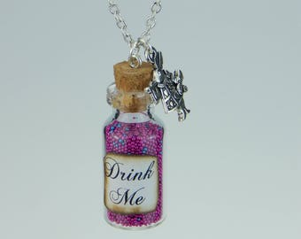 Drink me drink beads in the glass chain Alice in Wonderland inspired