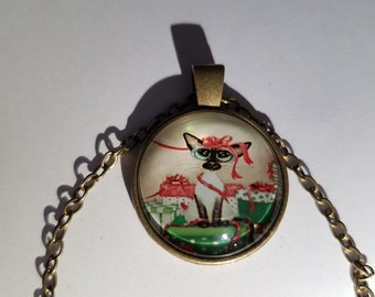 Cat glass cabochon and chain necklace