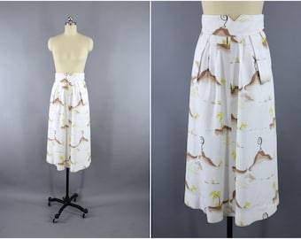 Vintage 1940s Hawaiian Skirt / 40s Skirt / Novelty Print Volcanos Palm Trees / Waffle Weave Cotton Midi Skirt / Size XS 0