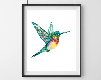 Hummingbird art painting- Bird decor- Hummingbird art - Watercolor bird