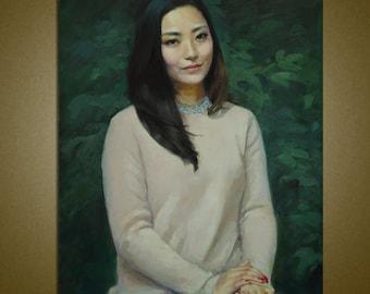 """Custom Portrait, Oil Portrait Painting, Portrait Art ,Portrait Custom,People Painting 24"""" X 32"""", handmade painting 100%"""