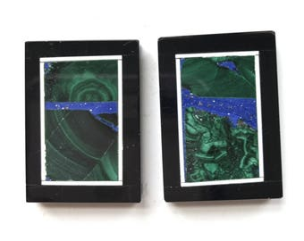 Stunning Unique 2 Pieces Chrysocolla Lapis and Black Onyx Frame Intarsia pendant bead BD9S422