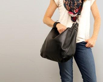 35eba2b46f32 UMA Leather Bag – Leather Hobo Bag – Slouchy Leather Bag – Crossbody Bag –  Adjustable Strap -Black Leather Bag – Boho Chic