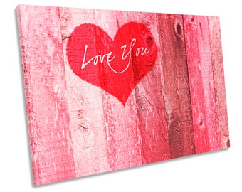 Love You Heart Valentines Picture CANVAS WALL ART Print
