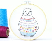 Baby Penguin Embroidery Kit - Embroidery Design - Nursery Decor - Hand Embroidery - Hoop Art - DIY Kit - Modern Embroidery - Adult Craft Kit