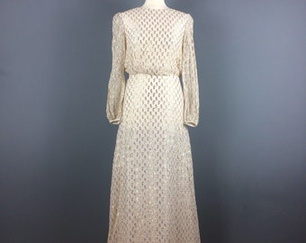Vintage 1970s white sparkly gold long party dress