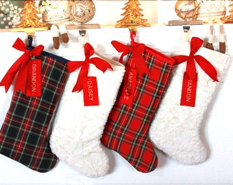 Personalized Christmas Stockings / White Red Stockings / Personalized Christmas Stockings / Plaid / white fur - FREE Shipping