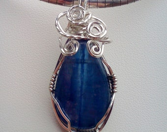 Kyanite Wire Wrapped Pendant