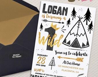 Wild One Birthday invitations Tribal gold and Black teepee Birthday invitations Printable Boho birthday invitations golden crown
