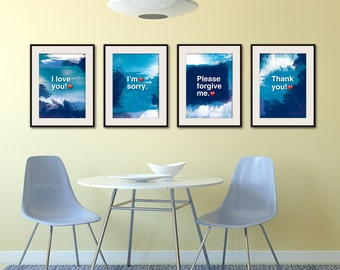 4XA3. Ho'oponopono healing Sentences. SET of 4 posters. Meditation quote poster. Typography posters. Wall decor. Home decor. Gift(Po-A3-065)