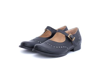 Black Mary Janes women's leather shoes, handmade wide brogues free shipping ADIKILAV