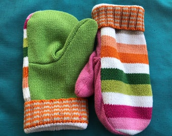 Mittens, Recycled Sweater Mittens, Handmade Mittens, Fleece Lined Sweater Mittens