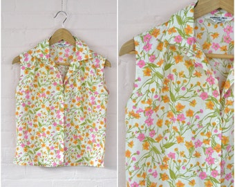 90s pink orange floral print top · sleeveless cotton flower shirt · button front casual blouse · happy print top · med/large