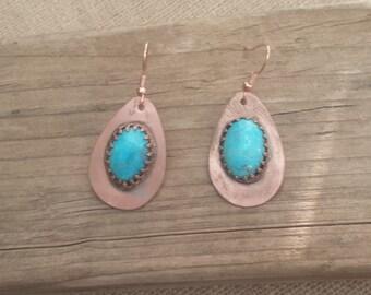 Copper  Turquoise Earrings