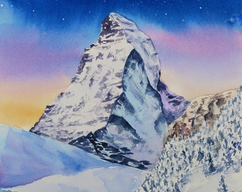 ORIGINAL watercolor painting, Matterhorn mountain in snow at winter evening