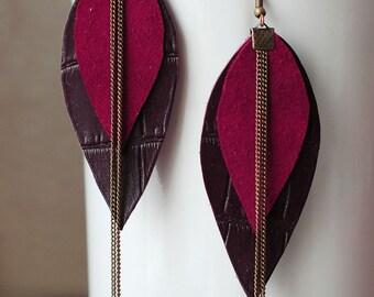 Long Leather Earrings- Leather Earrings- Dangle Earrings- Recycled Earrings- Boho Earrings- Red Earrings- Layered Earrings