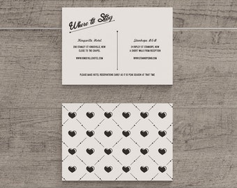 Printable Wedding Accommodation Template in 1960 Retro Black and White
