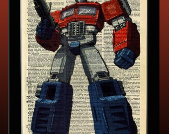 Transformers Inspired G1 Optimus Prime Dictionary Print 8x11