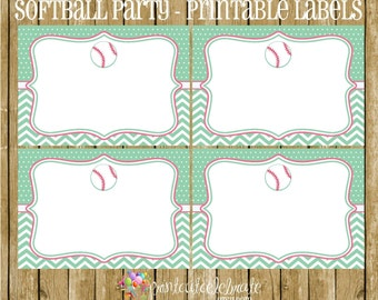Softball Party - Softball PRINTABLE Labels by The Birthday House