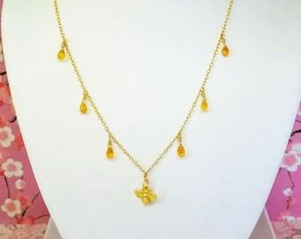 Gold Bumblebee orange sapphire drop necklace