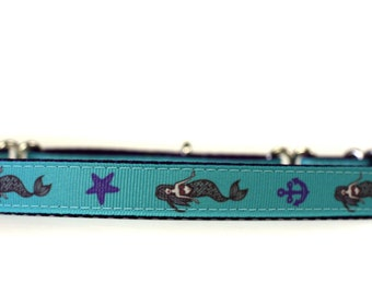 5/8 or 3/4 Inch Wide Dog Collar with Adjustable Buckle or Martingale in Mermaids an Exclusive Design