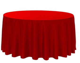 YCC Linen - 120 inch Round Polyester Tablecloth Red