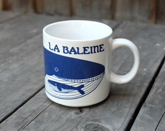 Taylor & Ng La Baleine Mug, Blue Vintage French Series 1979