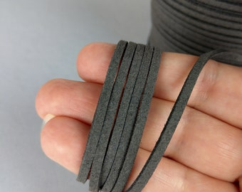 Dark Grey Suede Cord, 3mm, Environmental Cord, 1/5m, Faux Suede, DIY Jewelry, Grey Cord, C103
