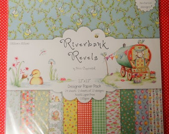 "Riverbank Revels 12"" x 12"" Designer Paper Pack 24 Sheets (2 sheets of 12 designs) with 6 linen textured designs"