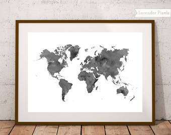 Black and white map etsy world map watercolor world map artwork map art black and white map wall art digital print worldmap poster fathers day gift for travelers gumiabroncs Image collections