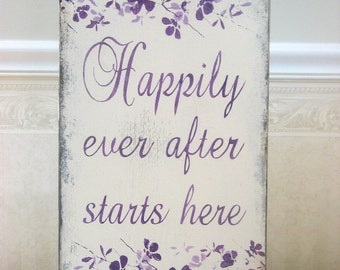 Wedding sign, Happily Ever after Starts Here,  BRIDAL custom colors sign, wedding planner, wedding woodland, reception sign, beach wedding