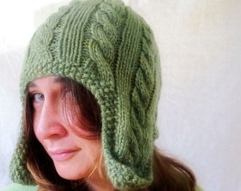 Cabled Earflap Cap Knitting Pattern for Men, Women, and Kids