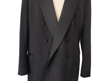 vintage tuxedo Christian Dior le connassieur jacket 46 Long Double breasted Black Peaked collar