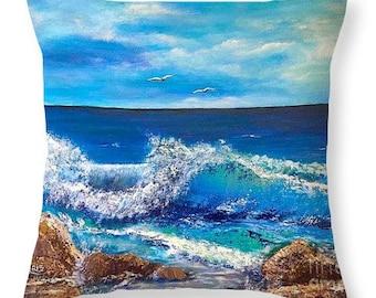 Art throw pillow,seascape throw pillow,Mediterranian art pillow,waves art pillow,sofa couch pillow, home decor accent, art print pillow,