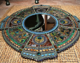 SOLD - Art Deco inspired, Mosaic peacock mirror - mosaic art, Real peacock feather inlays --SOLD