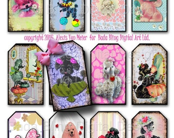 Perfectly Precious Poodles,  gift tags,  INSTANT Digital Download at Checkout, printable tags,poodles, french poodles, tags, vintage poodles