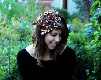 Show-Stopping Stitched Copper Sequin Hairpiece // Handmade Headband for Wedding Holiday Christmas Chanukah 20's Flapper Party