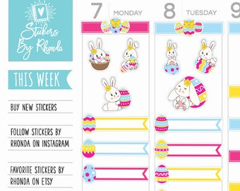 Easter Planner Stickers - Bunny Stickers - Rabbit Stickers - Easter Stickers - Holiday Stickers Planner Box Stickers - Easter 1