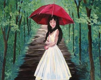 Girl Original Acrylic Painting, street, trees, umbrella, girl